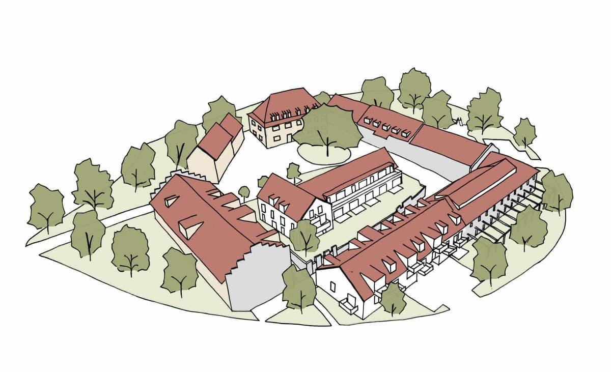 Skizze der Draufsicht des Gut Deutschhof mit seinen verschiedenen Quartieren