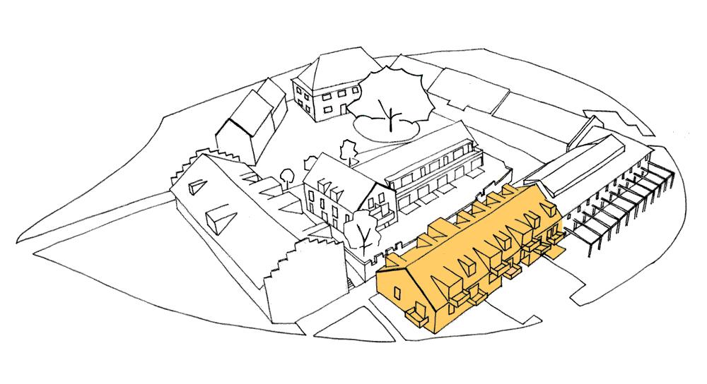 Strichgrafik des Gut Deutschhof mit gelber Hervorhebung der Erweiterung des Rinderstalls