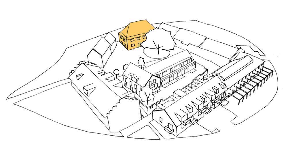 Strichgrafik des Gut Deutschhof mit gelber Hervorhebung des Herrenhaus