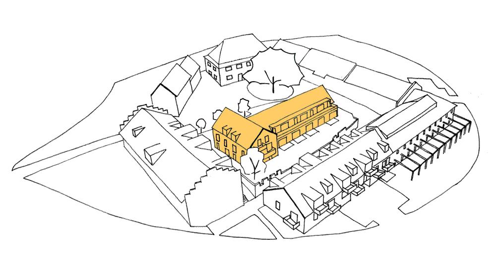 Strichgrafik des Gut Deutschhof mit gelber Hervorhebung des Remise