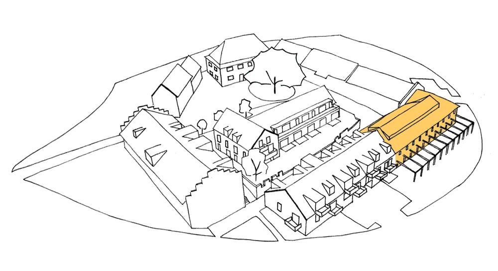 Strichgrafik des Gut Deutschhof mit gelber Hervorhebung des Rinderstalls