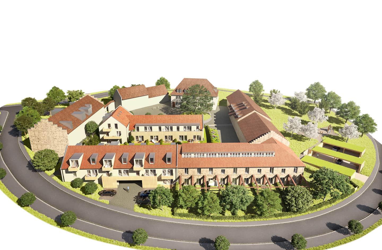 3D Rendering des geplanten Umbaus der Erweiterung des ehemaligen Rinderstalls auf Gut Deutschhof