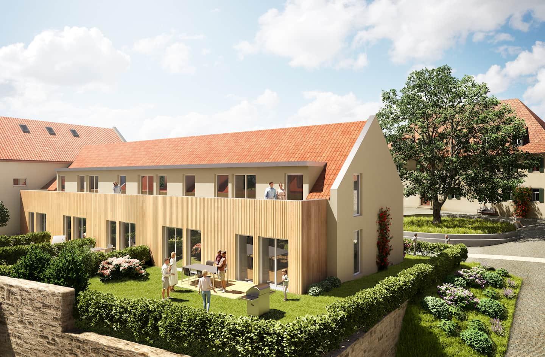 3D Rendering des geplanten Umbaus des Remise auf Gut Deutschhof