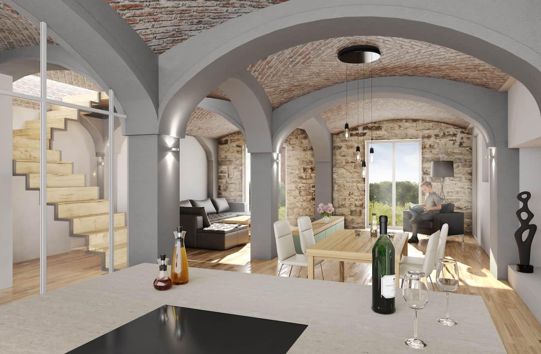 3D Rendering des Innenausbaus des ehemaligen Rinderstalls auf Gut Deutschhof
